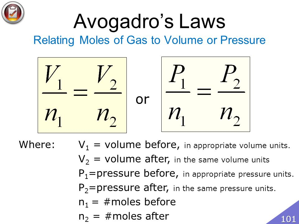 Avogadro's Laws Relating Moles of Gas to Volume or Pressure