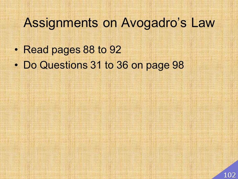 Assignments on Avogadro's Law