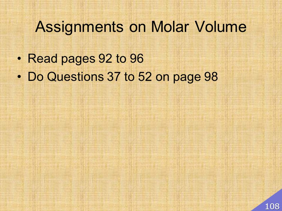 Assignments on Molar Volume