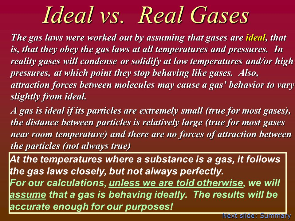 Ideal vs. Real Gases