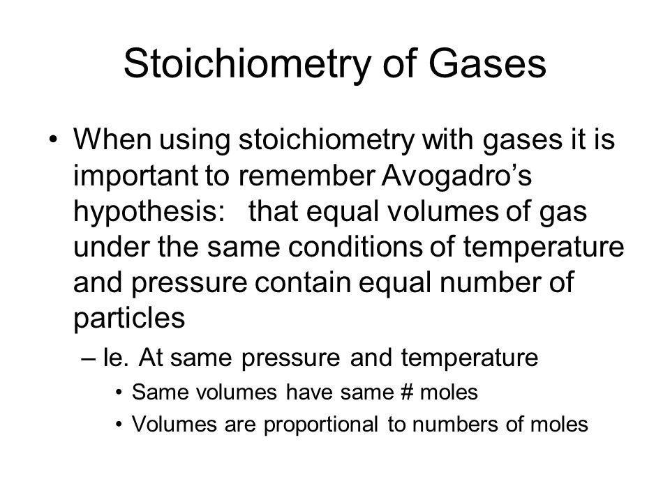 Stoichiometry of Gases