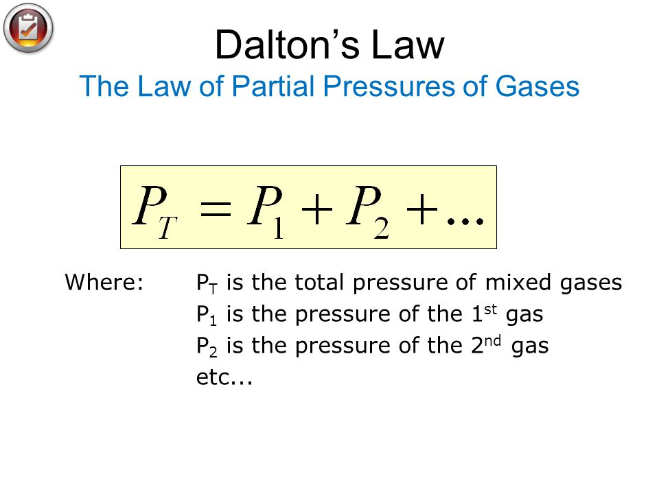 Dalton's Law The Law of Partial Pressures of Gases