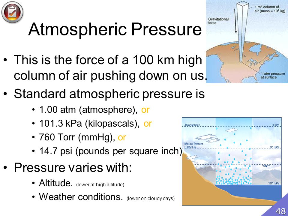 Atmospheric Pressure This is the force of a 100 km high column of air pushing down on us. Standard atmospheric pressure is.