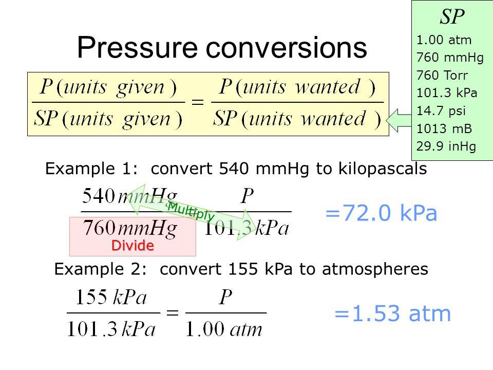 Pressure conversions SP =72.0 kPa =1.53 atm