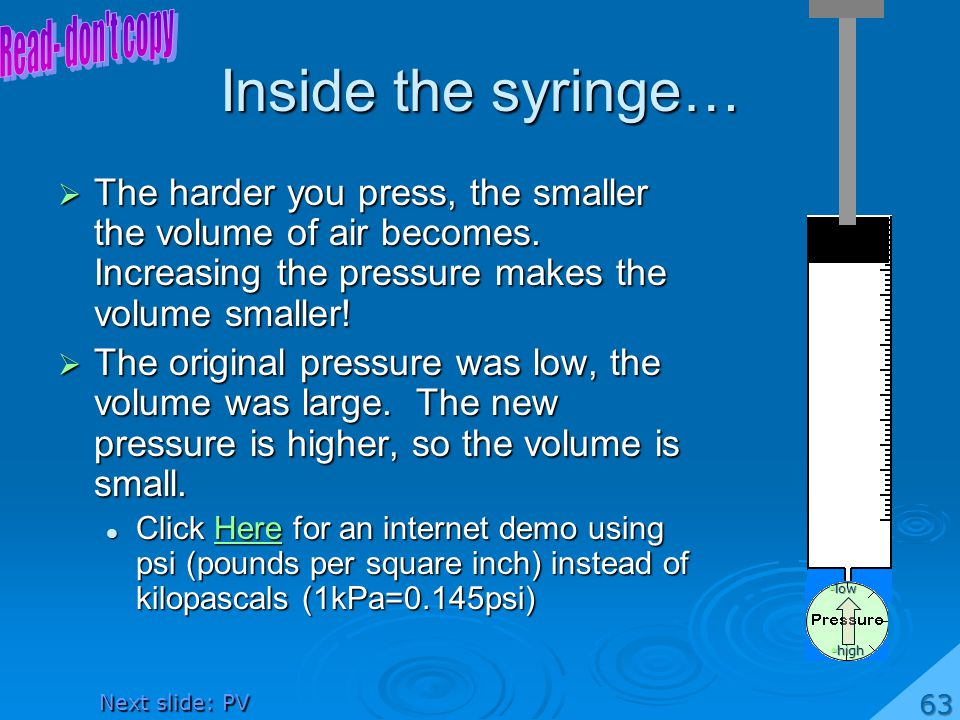 Inside the syringe… Read- don t copy
