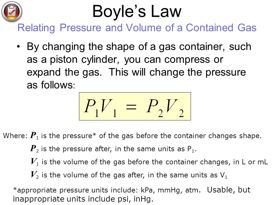 Boyle's Law Relating Pressure and Volume of a Contained Gas
