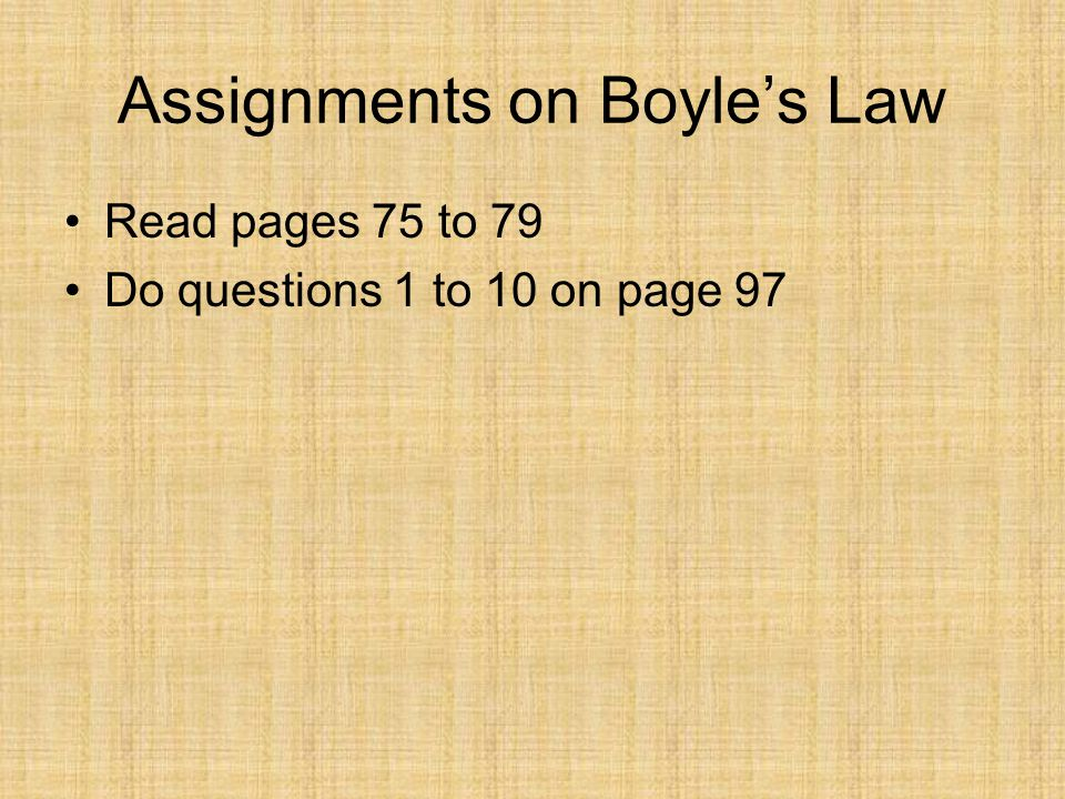 Assignments on Boyle's Law