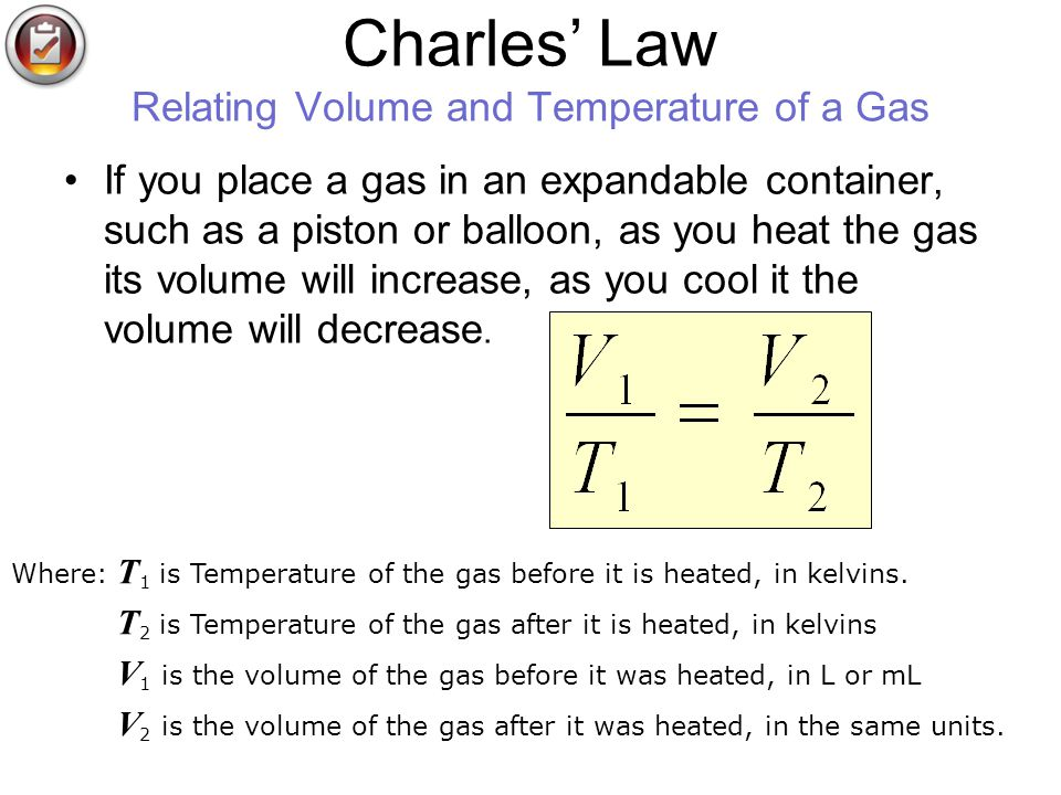 Charles' Law Relating Volume and Temperature of a Gas