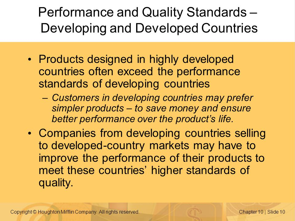 Performance and Quality Standards – Developing and Developed Countries