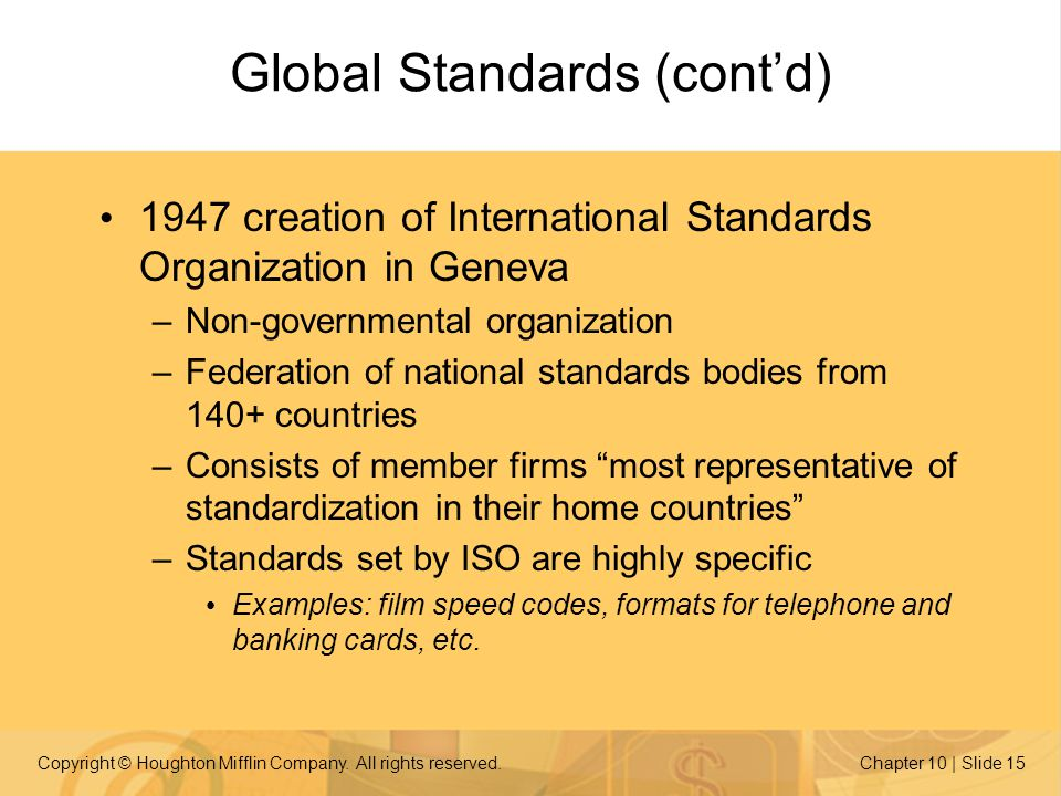 Global Standards (cont'd)