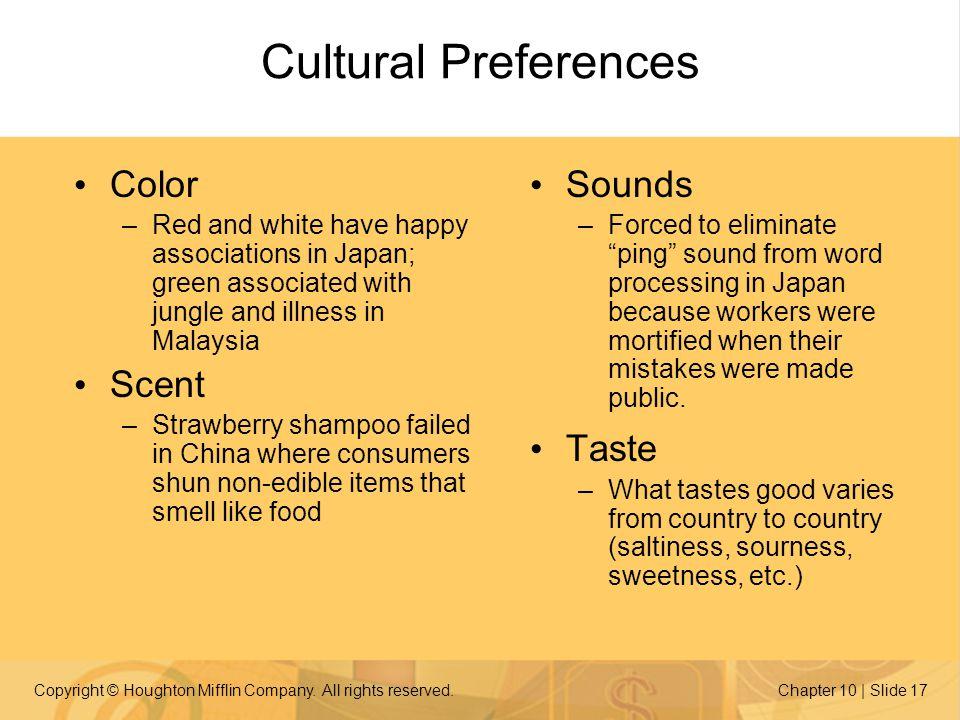 Cultural Preferences Color Scent Sounds Taste