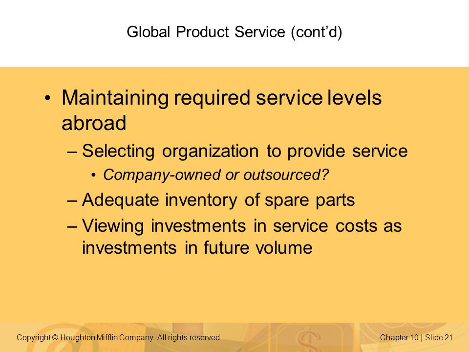 Global Product Service (cont'd)