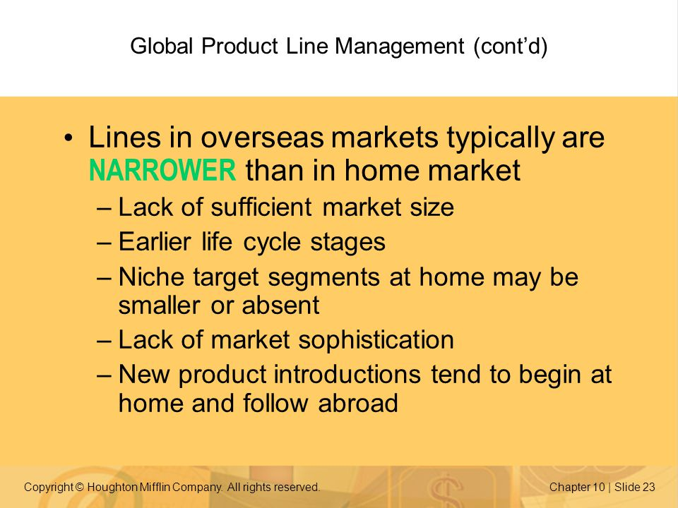 Global Product Line Management (cont'd)