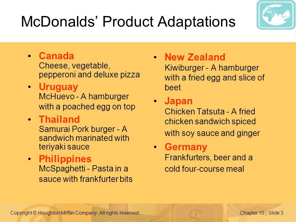McDonalds' Product Adaptations