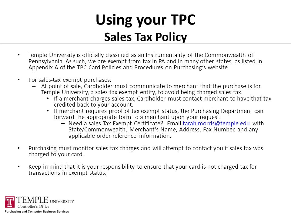 Using your TPC Sales Tax Policy