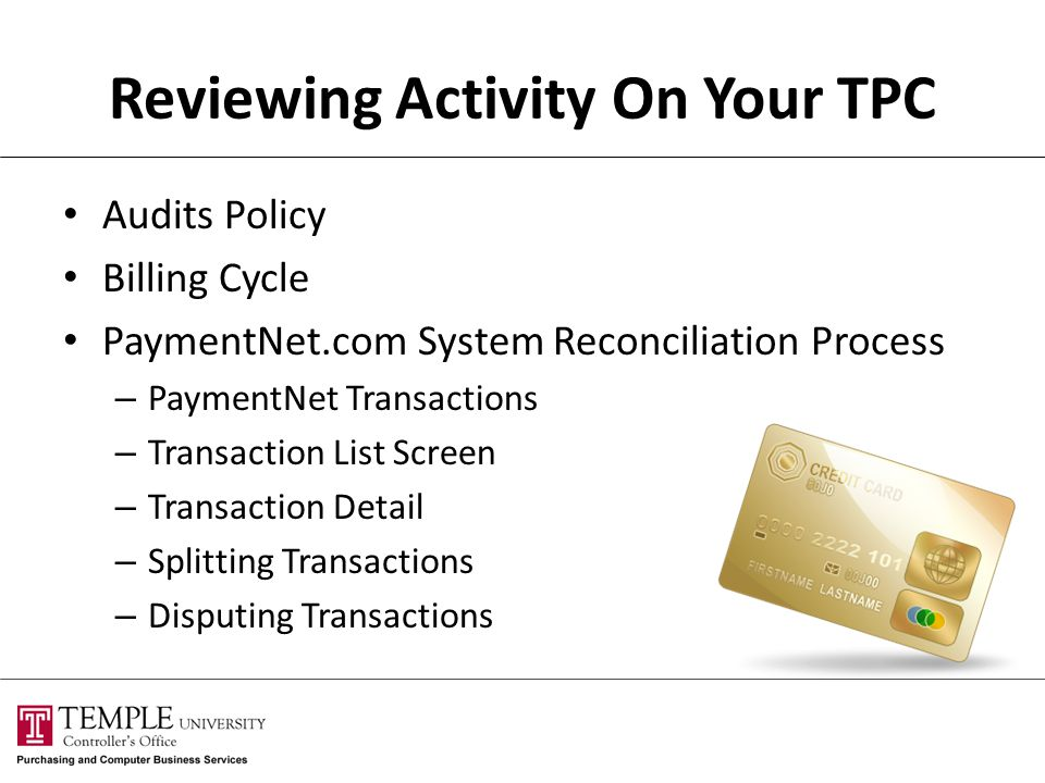 Reviewing Activity On Your TPC
