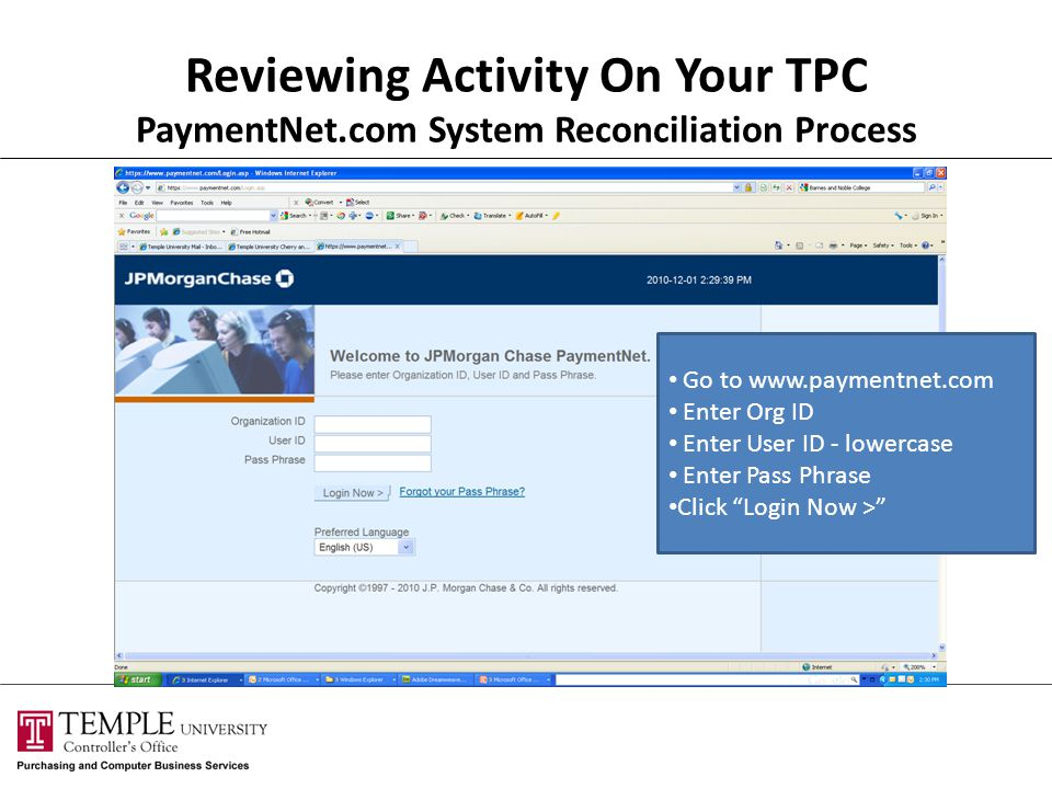 Reviewing Activity On Your TPC PaymentNet