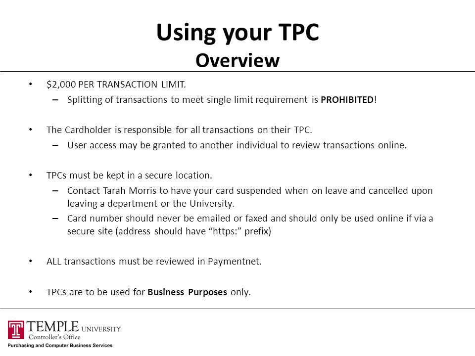 Using your TPC Overview