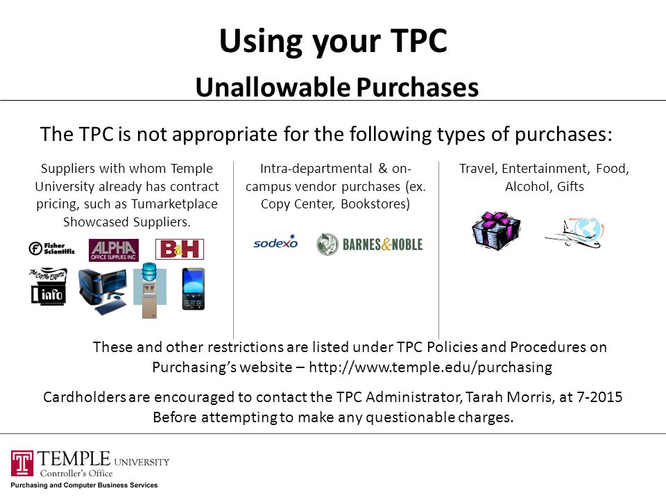 Using your TPC Unallowable Purchases