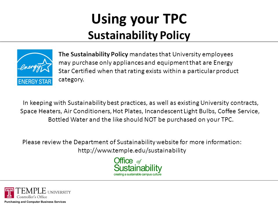 Using your TPC Sustainability Policy