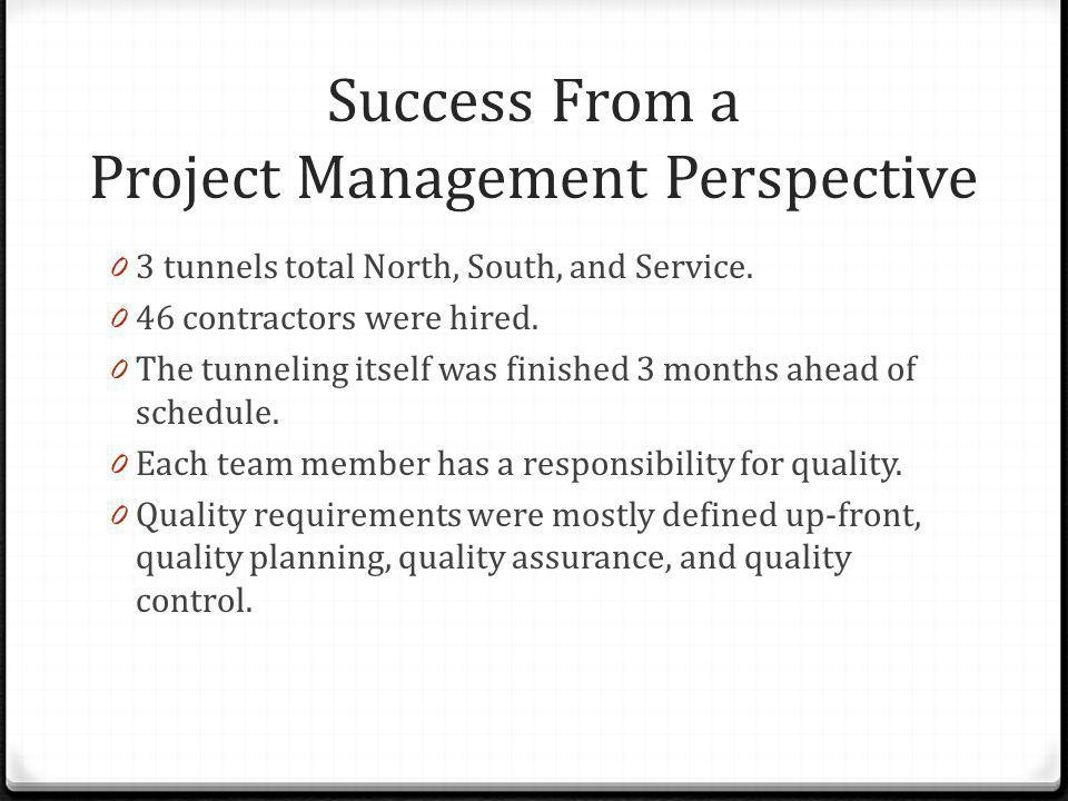 Success From a Project Management Perspective