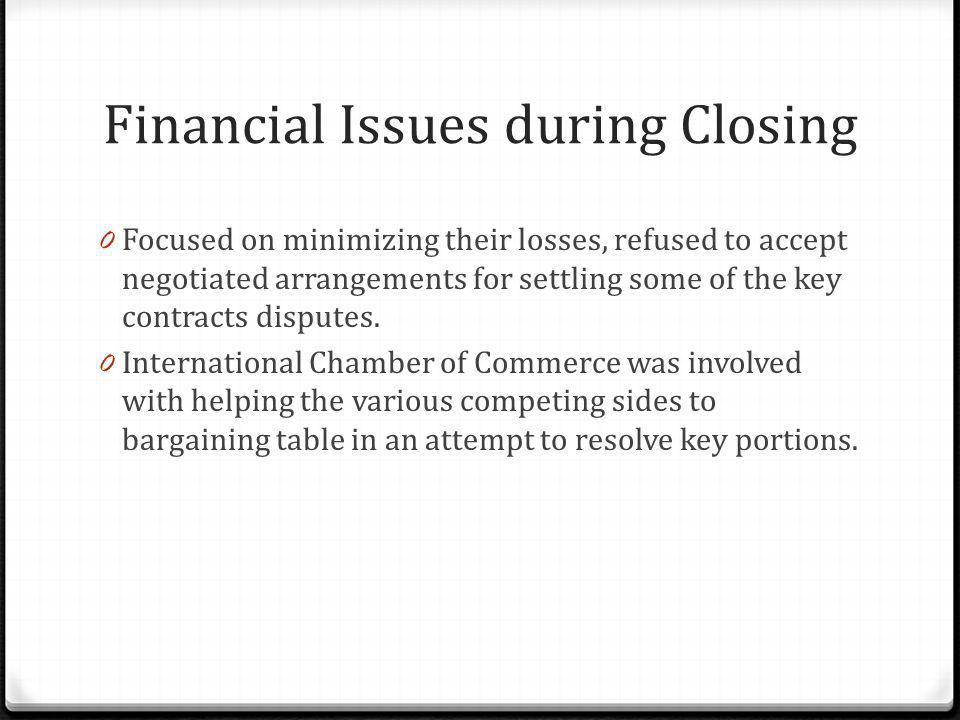 Financial Issues during Closing