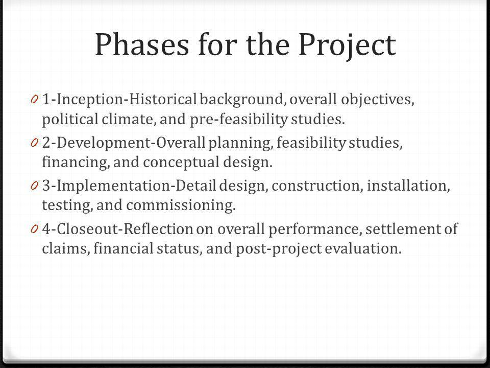 Phases for the Project 1-Inception-Historical background, overall objectives, political climate, and pre-feasibility studies.