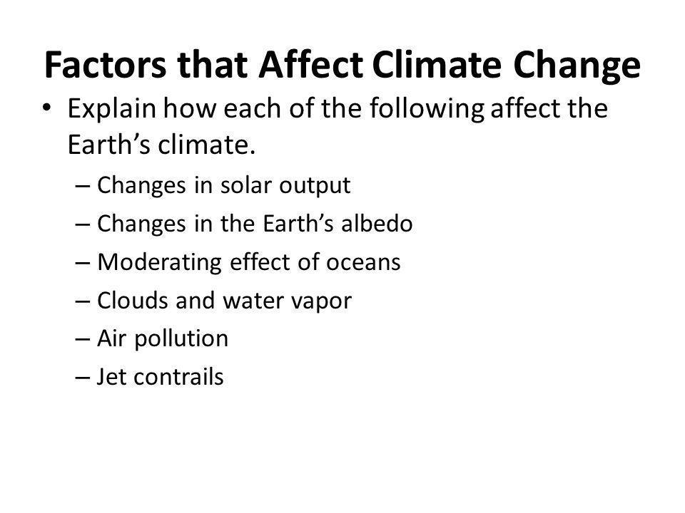 Factors that Affect Climate Change
