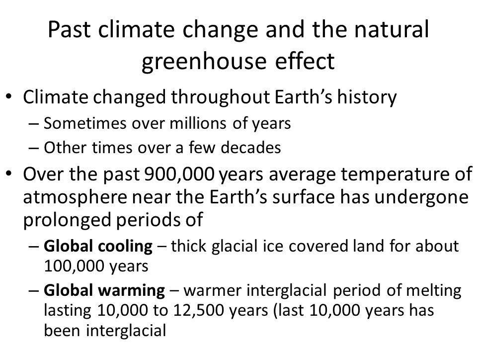 Past climate change and the natural greenhouse effect