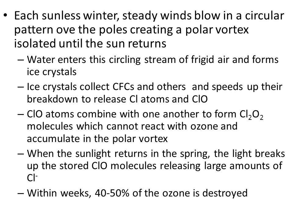Each sunless winter, steady winds blow in a circular pattern ove the poles creating a polar vortex isolated until the sun returns