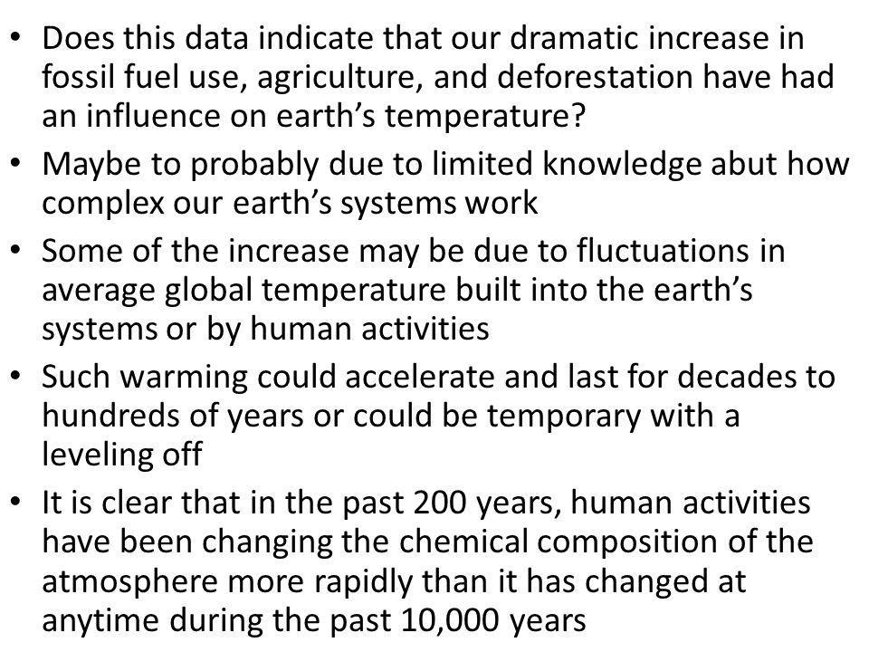 Does this data indicate that our dramatic increase in fossil fuel use, agriculture, and deforestation have had an influence on earth's temperature