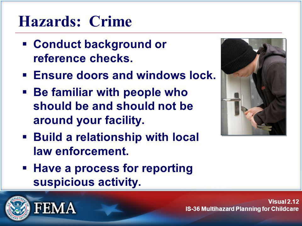 Hazards: Crime Conduct background or reference checks.