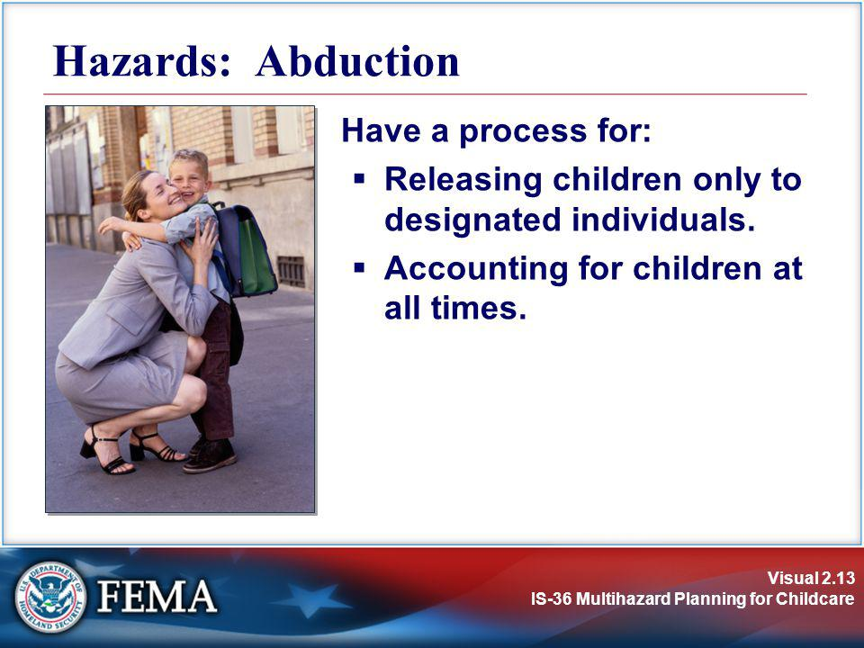 Hazards: Abduction Have a process for: