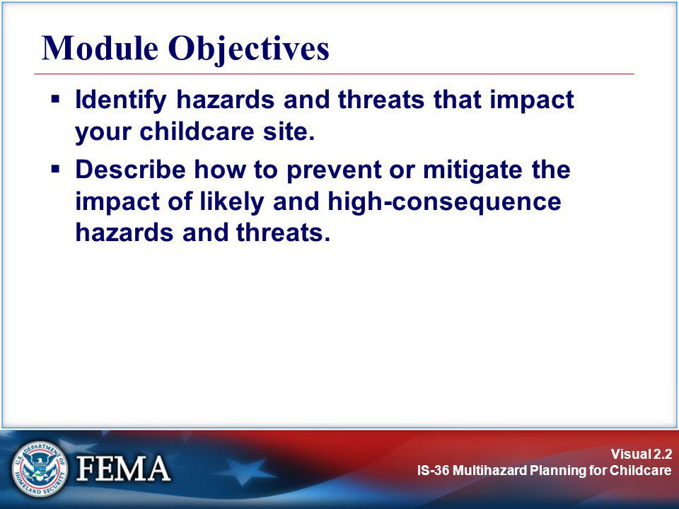 Module Objectives Identify hazards and threats that impact your childcare site.