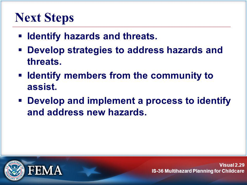 Next Steps Identify hazards and threats.