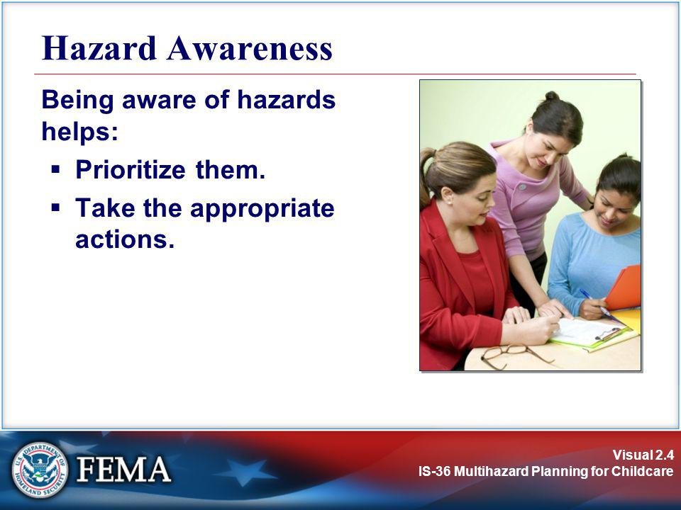 Hazard Awareness Being aware of hazards helps: Prioritize them.
