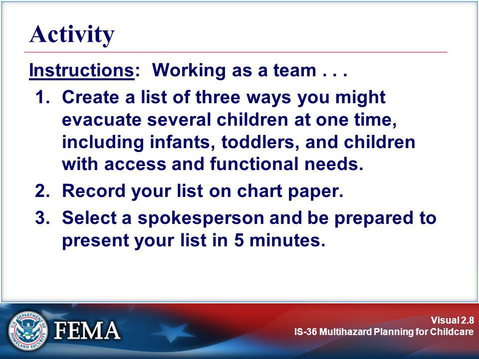 Activity Instructions: Working as a team . . .