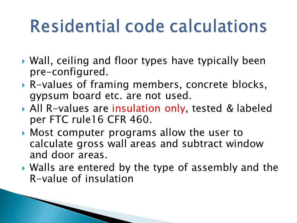Residential code calculations