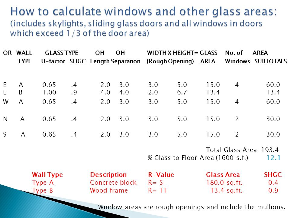 How to calculate windows and other glass areas: (includes skylights, sliding glass doors and all windows in doors which exceed 1/3 of the door area)