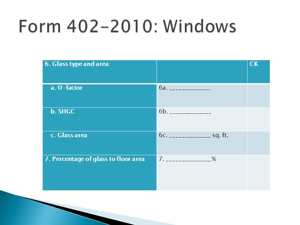 Form 402-2010: Windows 6. Glass type and area: CK a. U-factor