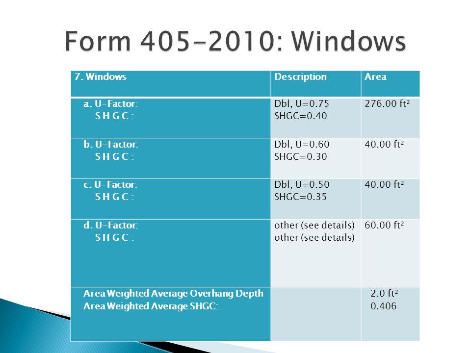 Form 405-2010: Windows 7. Windows Description Area a. U-Factor: