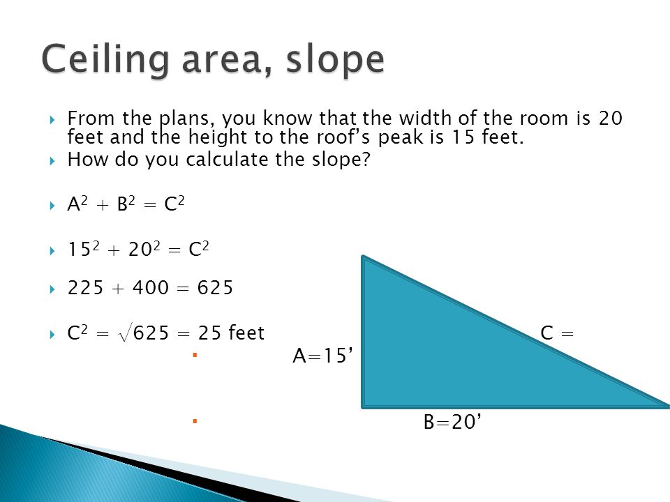 Ceiling area, slope A=15' B=20'
