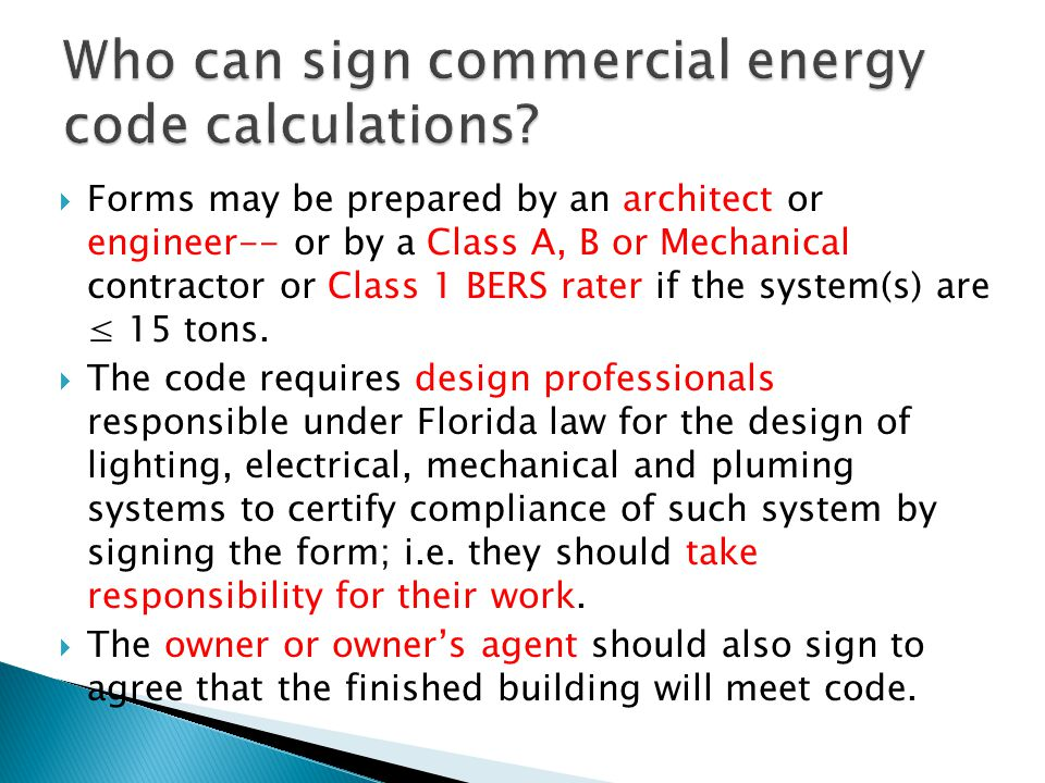 Who can sign commercial energy code calculations