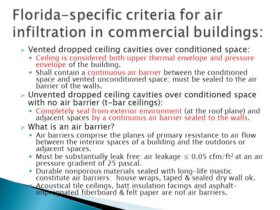 Florida-specific criteria for air infiltration in commercial buildings: