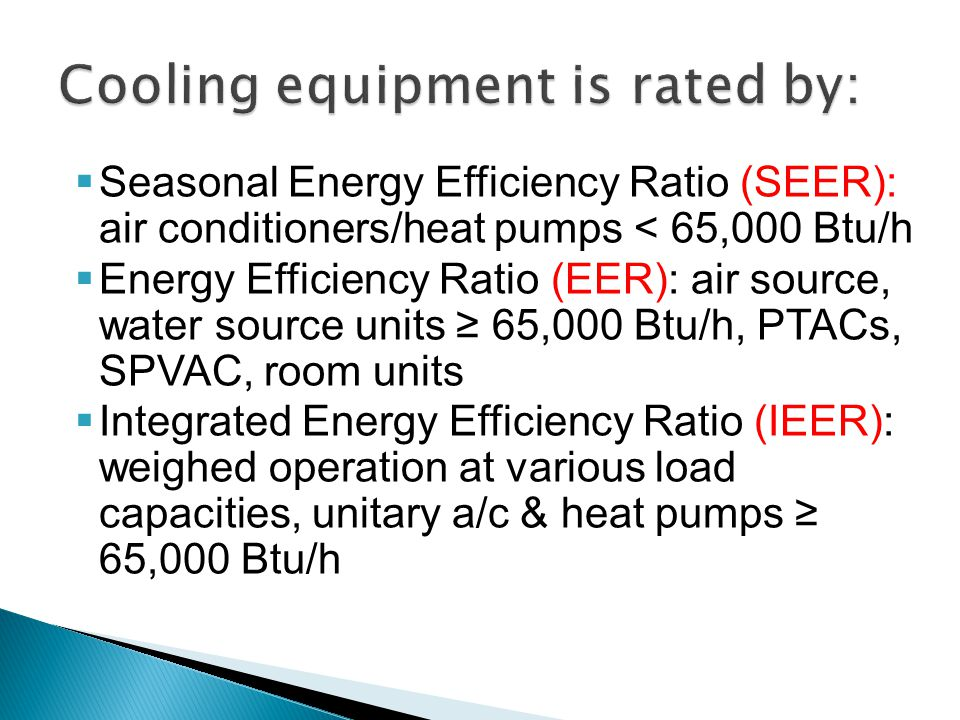 Cooling equipment is rated by: