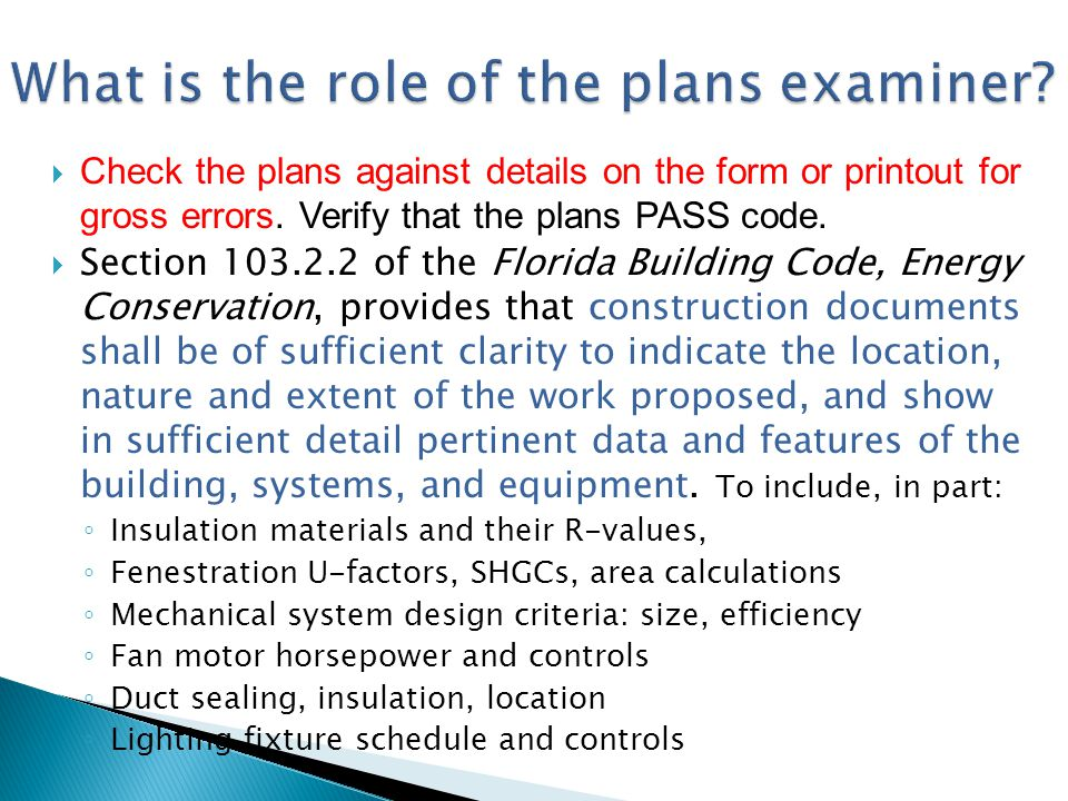 What is the role of the plans examiner