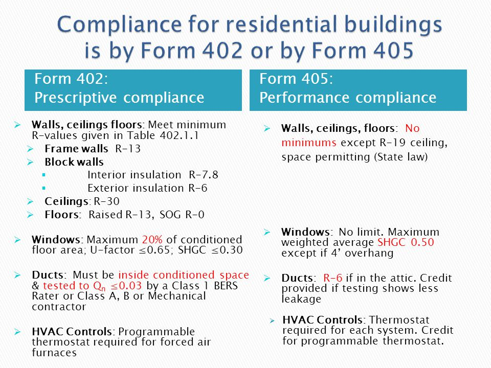 Compliance for residential buildings is by Form 402 or by Form 405