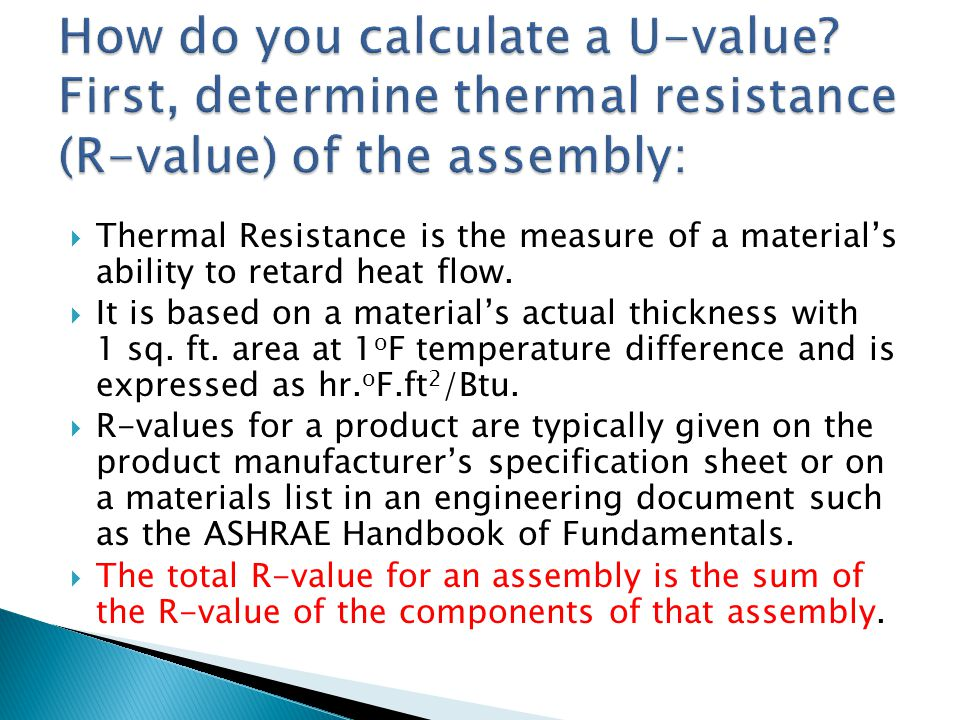 How do you calculate a U-value