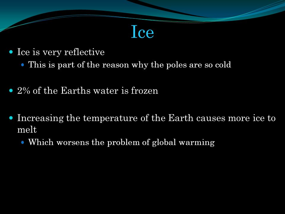 Ice Ice is very reflective 2% of the Earths water is frozen
