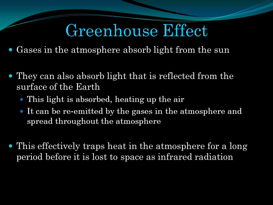 Greenhouse Effect Gases in the atmosphere absorb light from the sun